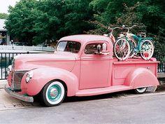 Pink vintage truck