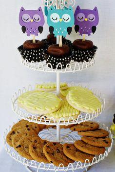 Night Owl Cupcake Toppers by Pinwheel Lane on etsy