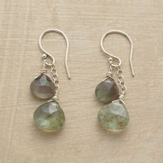 """COLORCAST EARRINGS--In these dangling aquamarine and labradorite earrings, moss aquamarines highlight the blue green hues among the spectrum of colors cast by labradorites dangling above. Sterling silver. French wires. Exclusive. Handcrafted in USA. 1-1/4""""L."""
