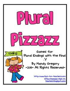 FREEBIE!  spelling games for plural nouns focusing on the final -y ending