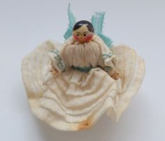 Antique Grodnertal Wooden Doll In Walnut Crib c1860