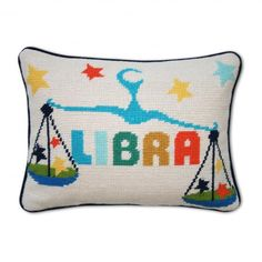 JONATHAN ADLER Libra Zodiac Needlepoint Pillow