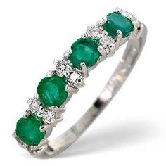 10K White Gold 0.60CT Emerald Wedding Ring