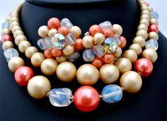 Vintage Opalescent Glass Pink Bead Set Necklace Earrings Japan Multi Strand   eBay