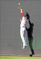 Game 3 of the NLDS- Carlos Beltran makes a leaping catch 10-10-12