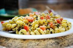 creamy pesto pasta with tomatoes :)
