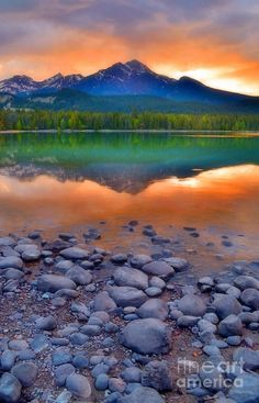Sunset At Lake Edith, Jasper Alberta Canada, photo by Tara Turner.