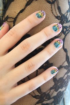 lisa frank inspired rainbow leopard nails