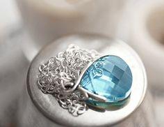 Pretty!  Blue Topaz Swarovski Crystal Necklace in by ClassicKeepsakes, $26.00