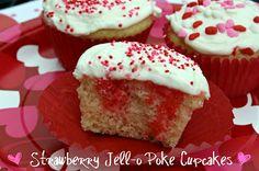 family dinners, cupcake recipes, valentine day, poke cupcak, strawberri, mommi kitchen, jello poke, strawberry cupcakes, famili dinner