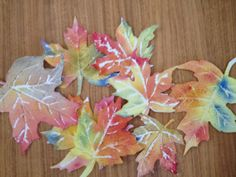 Watercolor fall leaves kids craft
