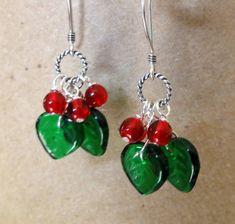 Christmas earrings - I love holly, so I'd love these!