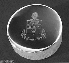 Alpha Chi Omega Sorority, ΑΧΩ, Engraved Crest Silver Plate Small Jewelry Box/Pin Box