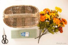 DIY Fall Floral Basket Door Decor | TodaysCreativeBlog.net