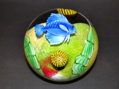 Orient and Flume Blue Damsel Fish Studio Glass Paperweight Artist Signed Beyers
