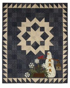 Snowflake Garden - Primitive Gatherings Quilt Shop. I think I could figure out something similar without a pattern. Wool for applique.