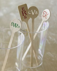 50 personalized stirrers. Great for weddings + parties!