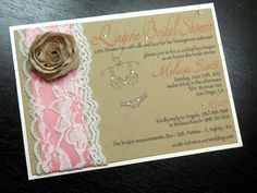 Lingerie Shower Invitation with pink flower instead of brown