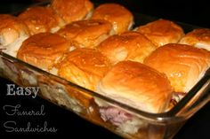 Funeral Sandwiches Recipe 1 pkg of dinner rolls (Kings Hawaiian) ½ - 1 lb deli sliced ham ½ lb thinly sliced swiss cheese  ½ C melted butter 2 T brown sugar 2 T Worcestershire sauce 2 T mustard (spicy mustard) 1 tsp onion powder Poppy Seeds