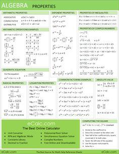Algebra formula chart.   I'm gonna be glad I pinned this when Jacob hits middle school. college algebra, learning algebra, education algebra, math help algebra, cheat sheets, help with math, algebra formula, algebra sheet, algebra help