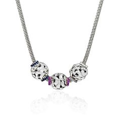 This outstanding Charles Krypell SweetPea Collection charm necklace features individually sold sterling silver charms with white, blue or pink sapphires. Each charm is meant to represent children and grandchildren. This piece makes a unique gift idea to a parent or grandparent for her birthday, mothers day or the holidays.  This charm necklace is approximately 16 or 18 inches in length and the charms measures 13mm in length and 16mm at the widest point. #gifts #jewelry #newborn #mothersday