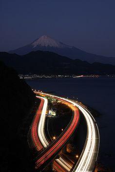 Mt.Fuji at night, Shizuoka, Japan