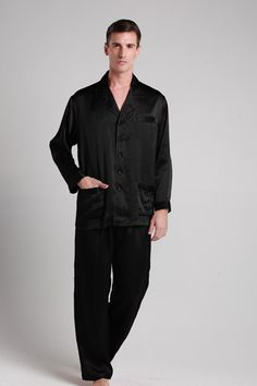 This luxury, smooth, breathable plain silk pajamas in black are made from pure 19mm mulberry silk. $109 #pajamas #silk #lilysilk