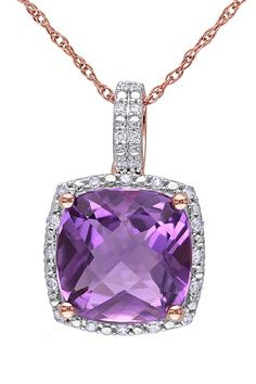 Rose Gold Amethyst & Diamond Trim Necklace