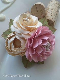 Handmade Paper Flowers - Corsage - Ivory - Pink - Weddings - Bridal Shower - Baby Shower - Customized Colors - Made To Order