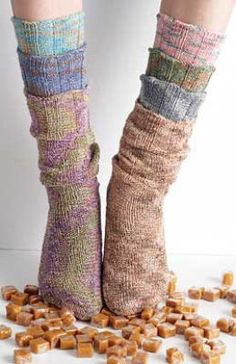 Free Patons Stretch Socks spiral tube socks knitting pattern: no heel shaping required so great for beginners