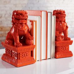 cb2 foo dog bookends