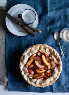 Plum and Peach Almond Pie