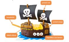 Pirate ship cake decorated with pretzels, M, and peppermint lifesavers.