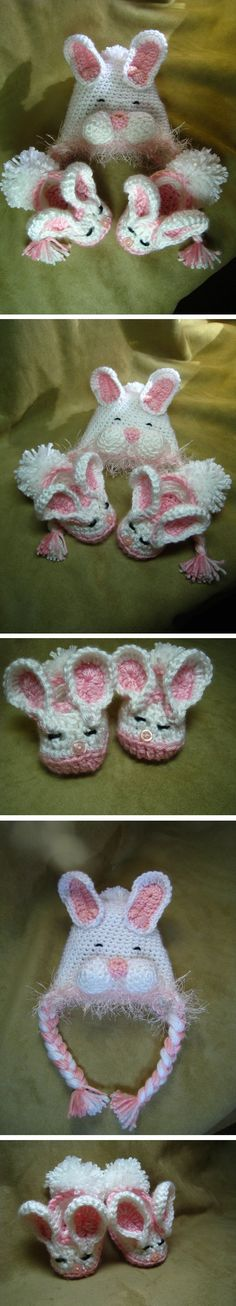 Bunny hat and slippers to crochet - *Inspiration*