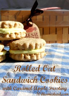 Rolled Oat Sandwich Cookies with Caramel Apple Frosting | The 104 Homestead