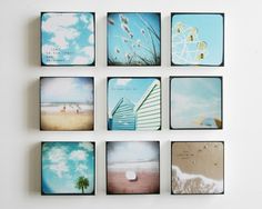 A set of 9 beach photo blocks - beach decor, turquoise, summer, beach photography, surfers, palm trees, clouds, bright blue, typography art