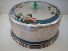 Vintage Aluminum Cake Carrier Pink White by melissasantiques, $27.50