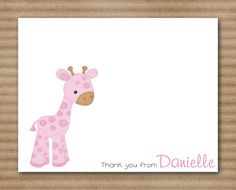 Giraffe Baby Girl Thank You Cards set of 8 by PaperHouseDesigns, $12.00