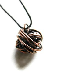 Modern Wire Ball Necklace -Copper Chaos LAST ONE. $33.00, via Etsy.