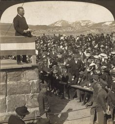 Teddy Roosevelt dedication of the Entrance Arch to Yellowstone Park at Gardiner -