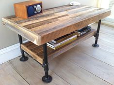 Industrial wood & steel coffee table or media stand, reclaimed barnwood with industrial pipe legs... the things I would be making if I didn't start a family in my 30's
