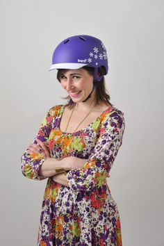 Helmet shoot 2012 - the lovely Jasmine Gardener from the Evening standard does purple Lenox with style!
