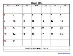 Printable Calendar 2014 March Templates