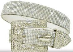 ATLAS BELT Rhinestone Trim Silver Crystal Buckle on White Leather Western Belt #belt #Atlas Belt # rhinestones #Leather Belt crystal buckl, western belt, belt rhineston, silver crystal, belt belt, rhineston leather, leather belts, atlas belt, rhineston trim