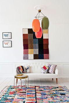 Image Via: Joanna Goddard #livingroom #decor #styling #design #modern #interior #house #home #rug #lighting #art #couch #color