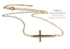 14KT GOLD Small Sideways Cross Necklace Kelly Ripa by gemsinvogue