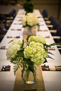 green hydrangea wedding centerpieces on burlap