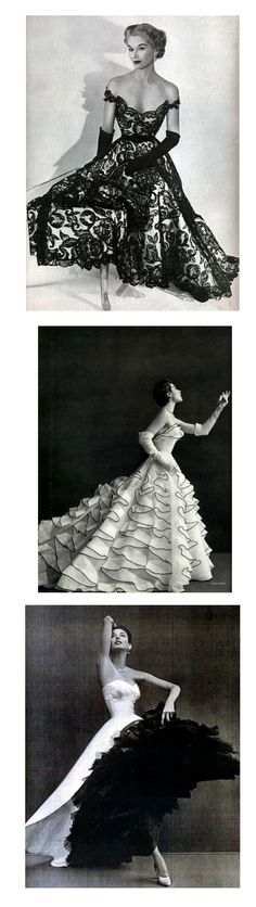 1) 1951 Hattie Carnegie Fashions. Photo by Horst P. Horst. Model: Lisa Fonssagrives-Penn.     2) L'Officiel #371, 1953. Photographer: Tobias Jacques Heim, Spring 1953    3) Evening ensemble: Balenciaga, 1951, cover of Harper's. the dress, fashion photography