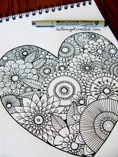 draw, art inspir, tangl pattern, zentangl inspir, zentangl heart, business cards, doodl, hello angel, mandala heart