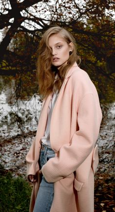 PASTEL WINTER | PINK COAT + DENIM - Le Fashion